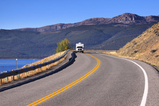 Scenic drive through Rocky mountains