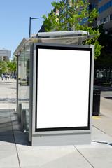 Bus stop billboard in american city downtown