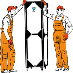 two longshoremen in orange combinations hold a box