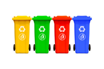 Large colorful trash cans collection