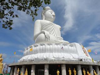 Big white marble Buddha statue - Phuket, Thailand