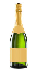Wine bottle isolated with blank label. Clipping path included