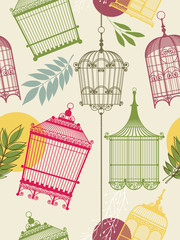 Printed roller blinds Birds in cages vintag pattern with birdcages