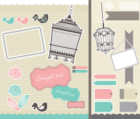 Recess Fitting Birds in cages set for scrapbooking with birdcage and frames
