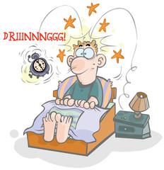 Cartoon waking-up illustration.