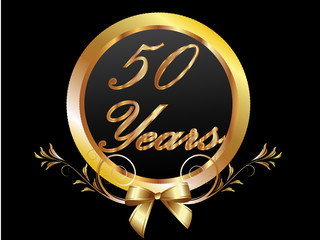 50 Years gold with ribbon vector