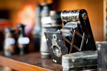 old camera. vintage photography equipments.