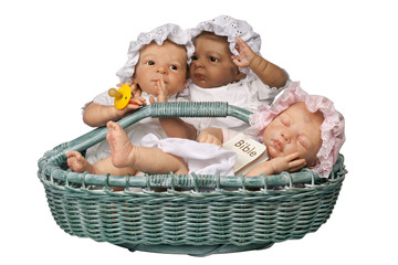 Three babies in basket