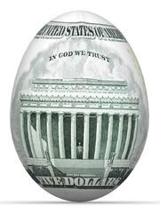 5 dollar back side banknote in shape of egg.
