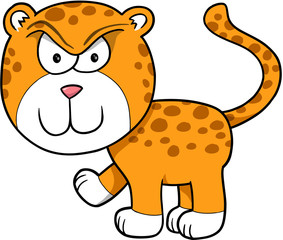 Tough Angry Leopard Vector Illustration Cartoon Art