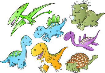 Cute Dinosaur Animal Vector Illustration Doodle Art Set