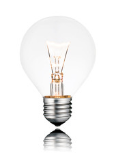 Lightbulb ON - Golf Ball Shape, Screw, Reflection, Isolated