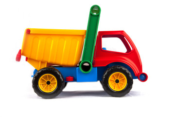 Colorful truck toy isolated on white background