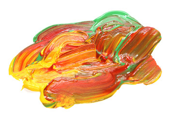 Colorful strokes over white background