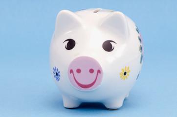 Isolated white pig-box on white. Saving money