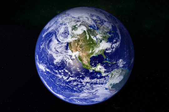 planet Earth in galaxy space