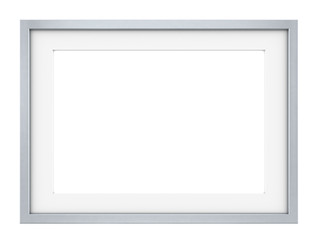 Picture frame of Steel. Slightly rounded edges. Sparse design.