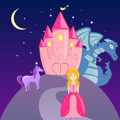Foto op Canvas Pony Vector Fairytale