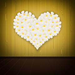 flower in heart shape on seamless wood background
