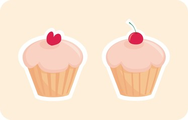 Vector sweet muffin cakes isolated on pink background