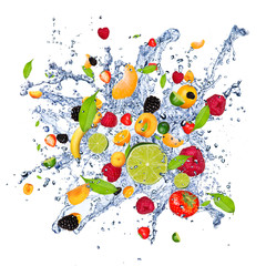Wall Mural - Fruit mix in water splash, isolated on white background