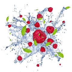 Poster Eclaboussures d eau Fresh raspberries in water splash, isolated on white background
