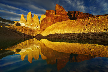 Wall Mural - Towers with reflection at sunrise, Torres del Paine National Par