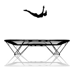 Fototapete - silhouette of gymnast jumping on trampoline