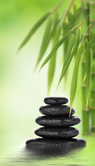 Stacked massage stones and bamboo design