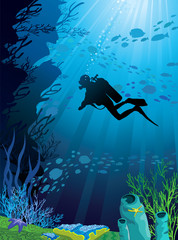 Poster Submarine Beautiful coral reef and silhouettes of diver