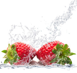 Printed kitchen splashbacks Splashing water fragole splash