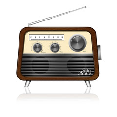 retro radio on white background,included clipping path