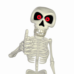 Autocollant pour porte Doux monstres Thumbs Up Skeleton