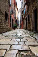 In de dag Smal steegje Narrow Street in the City of Rovinj, Croatia