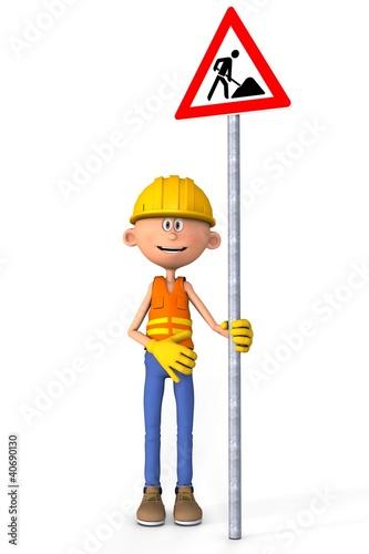 Baustelle schild comic  Bauarbeiter mit Baustellenschild Comic