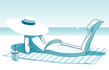 Girl on the sunny beach, vector