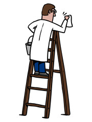 Man climb on a ladder and cleans