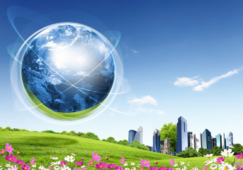 Green nature landscape with planet Earth