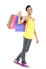 Shopping young Pretty woman walking with bags