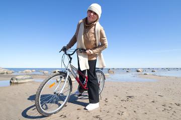 Cyclist at sea.