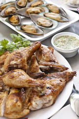 Grilled Chicken with mussels