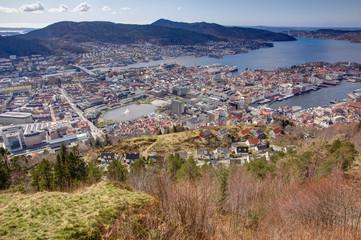 View over Bergen taken from the popular landmark Fløyen.