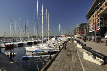 Yachts in the Marina at Aker Brygge Oslo Norway