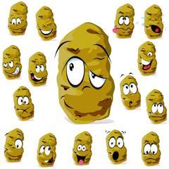 potato cartoon with many expressions isolated