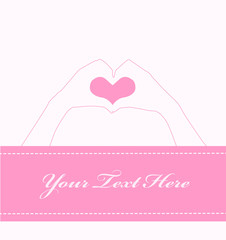 Greeting cards with hand heart shape
