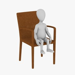 3d render of cartoon character on chair