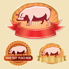 butcher label with pig