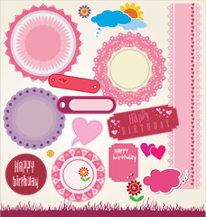 set of cute scrapbook elements. vector illustration