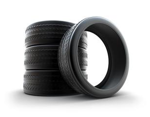 Winter tires over white