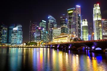 Foto op Plexiglas Singapore Singapore cityscape at night
